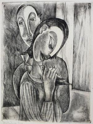 Liebespaar mit Vogel  1958  24 x 32
