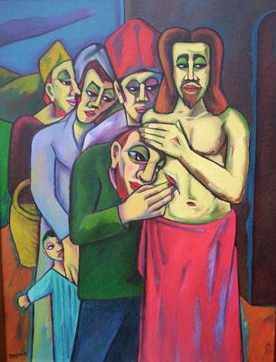 Christus und der ungläubige Thomas  2006  85 x 100