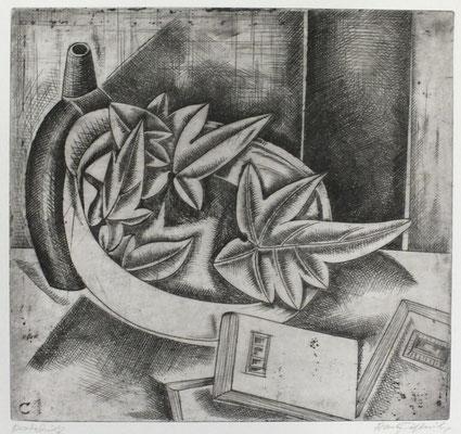 Stillleben mit Blätter  1960  31,5 x 29,5