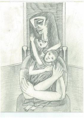 Mutter mit zwei Kindern 1964