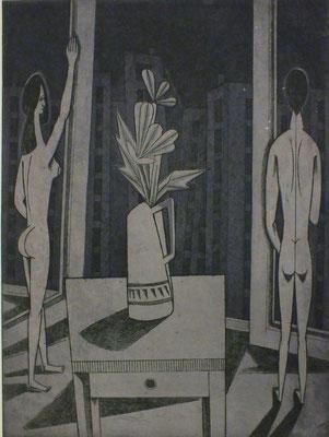 Ehepaar vor Fensterfront  1979  29,5 x 39,5 ( Ätz )