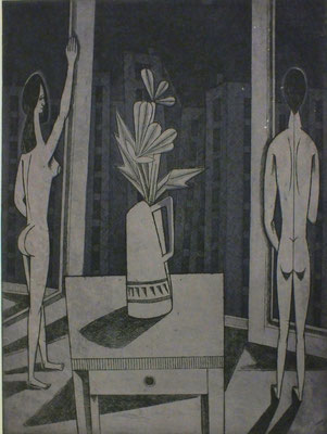 Ehepaar vor Fensterfront  1979  29,5 x 39,5 ( Ätz )             ( 2 )
