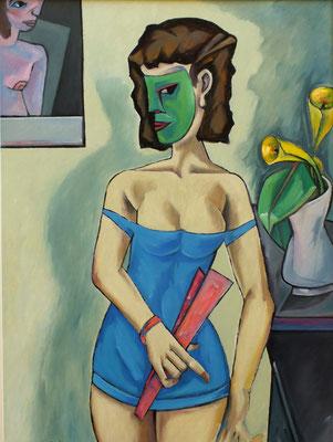 Frau mit grüner Maske  2007  75 x 100