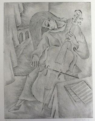 Cello Spielerin  1983  30 x 39             ( 3 )