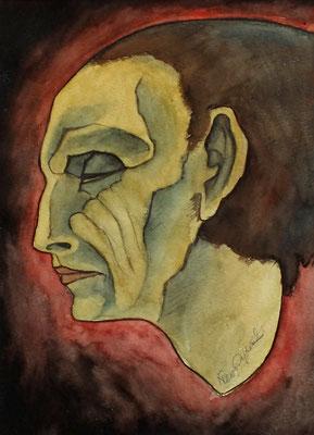 Studien Kopf ( Mephisto )  1986  23 x 38 ( Aquarell )
