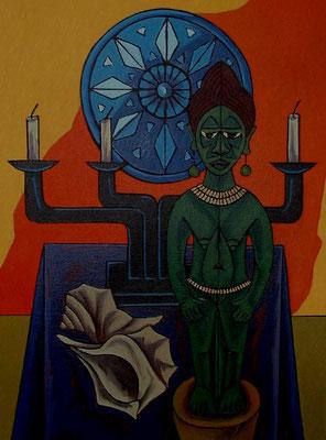 Stillleben mit Afrikanischer Figur  2000  75 x 100