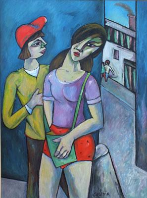 Pärchen an der Ecke  2007  76 x 100