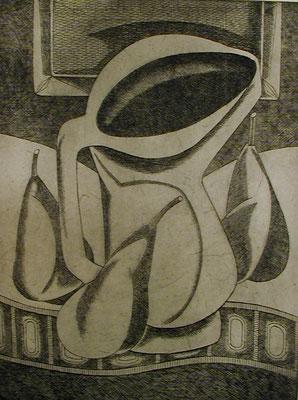 Stillleben mit Krug und Birnen  1977  30 x 39,5 ( Ätz )       ( 2 )