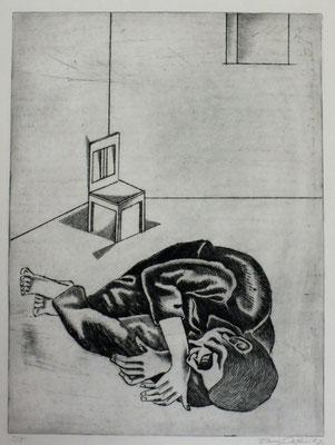 Liegender ( Gefängnis )  1981  29,5 x 39,5           ( 3 )