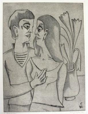 Paar vor Blumenstrauß  1996  29,5 x 39,5