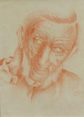 Alter Mann aus Altersheim V 1947  18,5 x 24,5 ( Rötel )