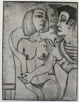 Gespräch  1980  30 x 39             ( 3 )