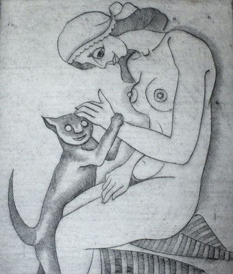 Frau mit Katze  1977    15 x 20