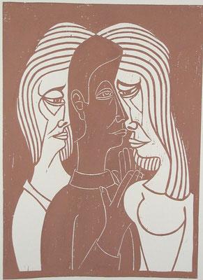 Mann zwischen zwei Frauen  1993  45 x 62       Platte vorhanden