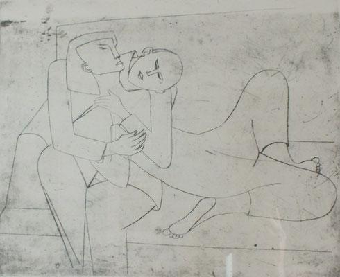 Auf dem Kanapee  1955    32 x 27