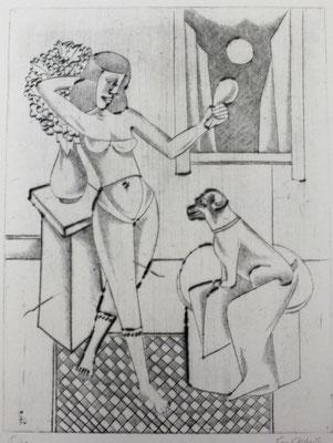 Frau mit Spiegel  1996  30 x 39,5           ( 2 )