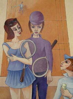 Tennis Paar  1985  90 x 120