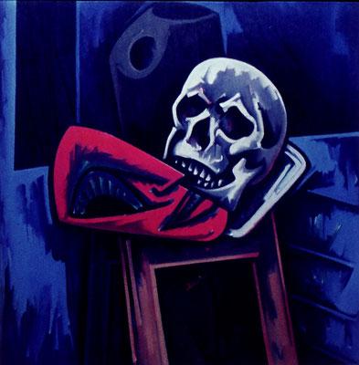 Stillleben mit Totenkopf und roter Maske