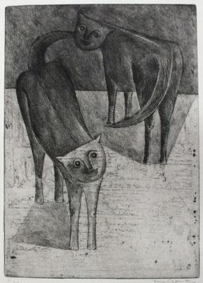 Katzen  1955  22 x 31             ( 3 )
