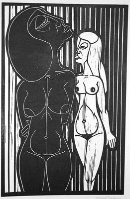 Freundinnen ( Eifersucht )  1983  39 x 60             Platte vorhanden