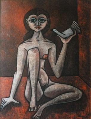 Mädchenakt mit Taube  1978    99,5 x 130