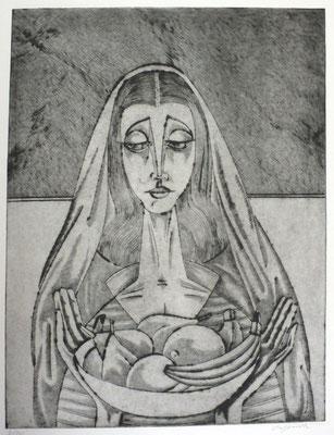 Frau mit Obstschale  1996  30 x 39          ( 2 )