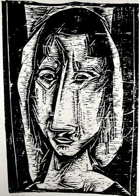 Frau mit Kopftuch  1962  39 x 57