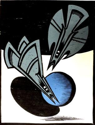 Zwei Vögel im Flug  1978  60 x 78