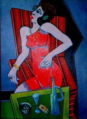 Frau mit rotem Kleid  2004    75 x 100