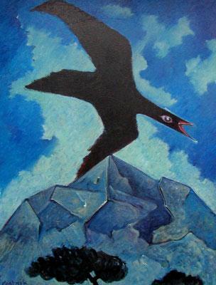 Vogel im Gebirge  1980  90 x 120