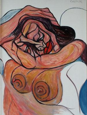 Schlafende ( Halbakt )  2009  75 x 100