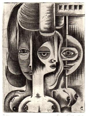 Kubistische Köpfe  1970  15 x 20       ( 2 )