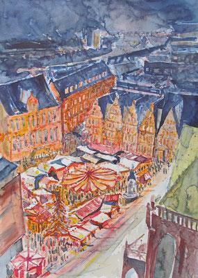 Marktplatz Bremen im Advent vom Dom aus gesehen_36x48 cm