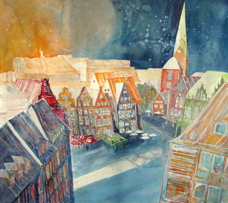 Marktplatz Bremen von der Baumwollbörse aus gesehen_56x60 cm