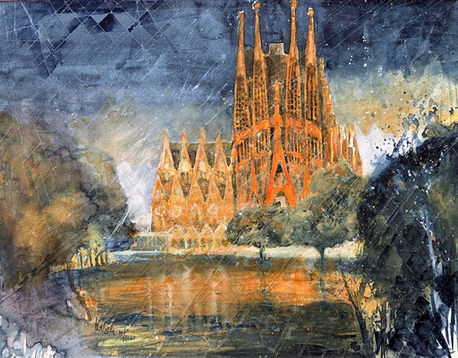 Barcelona_ Basilika la Sagrada Familia_ Mixed-Media Aquarell_50x65 cm_10-2020