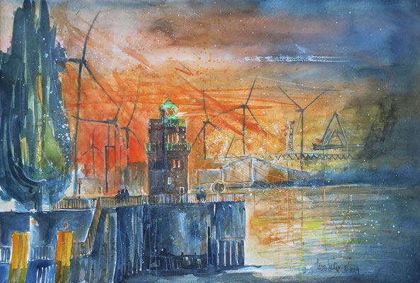 Molenturm am Waller Sand in Bremen_Aquarell 38x56 cm_8-2019