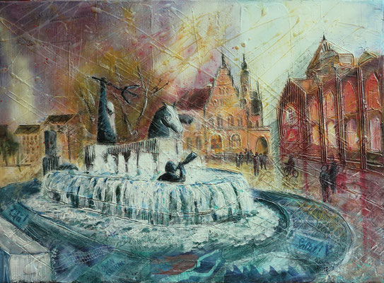 Bremen_Neptunbrunnen_Mixed-Media Collage auf Leinwand 50 x 70 cm_8-2017