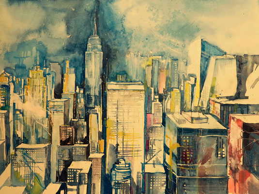 N.Y. Blick downtown vom Rockefeller Center_36x48 cm