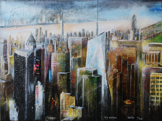 N.Y. Blick vom Rockefeller-Center midtown_Mixed-Media auf Leinwand_50x70 cm_6-2015