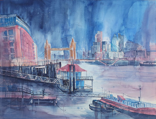 London_Towerbridge from the Docks_Aquarell 45x61 cm_3-2017