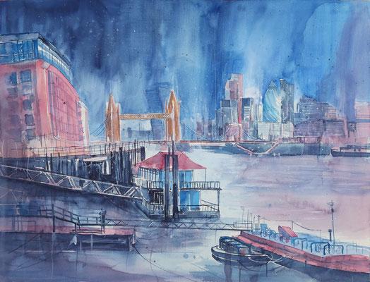 London_Towerbridge from the Docks_Aquarell 45x61 cm_3-2017