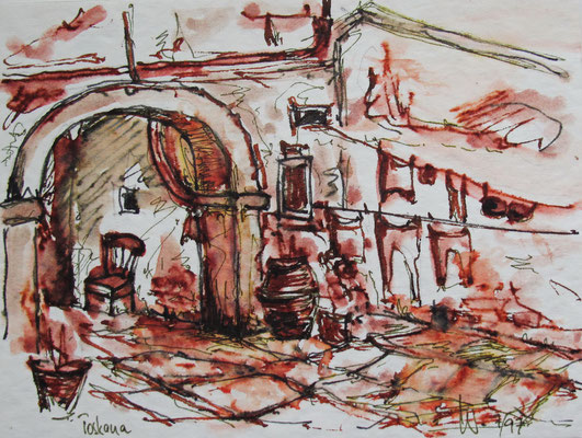 Dorf bei Lucca_Toscana_12x18 cm