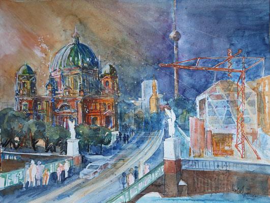 Berlin_Berliner Dom mit Baustelle Stadtschloß und Humboldtbox_Aquarell 50x65 cm_10-2017