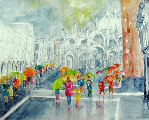 Venedig_Piazza San Marco im Regen_50x60 cm