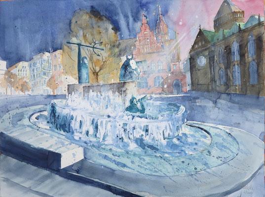 Bremen_Neptunbrunnen auf dem Domshof_Aquarell 45 x 61 cm_2-2017