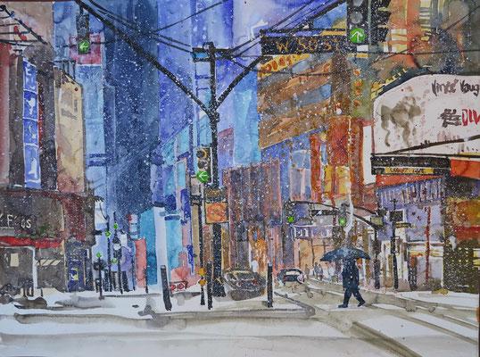 """NYC. Times Square """"Wintertimes""""_Aquarell 45 x 61 cm_2-2016"""