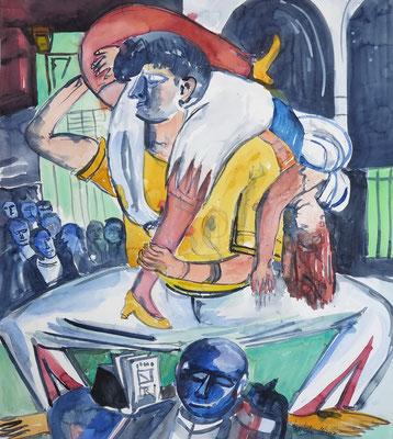 """... die Max Beckmann-Ausstellung in der Kunsthalle Bremen hat mich inspiriert, sein Werk """"Apachentanz"""" als Aquarell nachzuempfinden_Aquarell 56 x 76 cm_11-2017"""