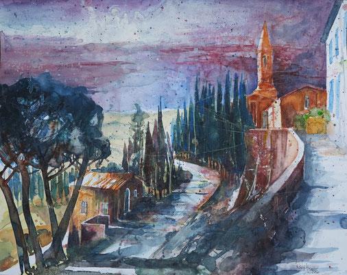 Toskana_Pienza, Stadtmauer mit Kirche_Aquarell 50x65 cm_7-2016