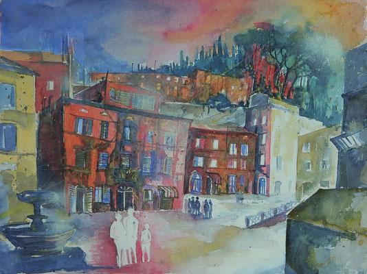 Toskana_Cetona - Piazza Garibaldi_Aquarell 50x65 cm_9-2016