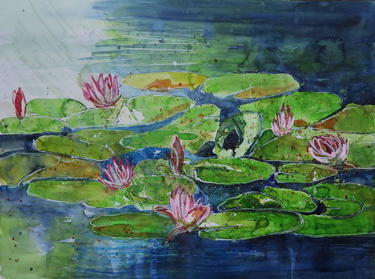 Seerosen im Monet-Garten in Giverny_Aquarell 42 x 56 cm_8-2017